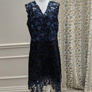 Elie Tahari Dress16 Peacock Lace Over Midi Sheath
